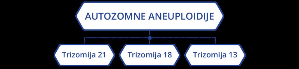 Prenatalni testovi stavljaju poseban fokus na autozomne aneuploidije (trizomija 21, trizomija 18 i trizomija 13)