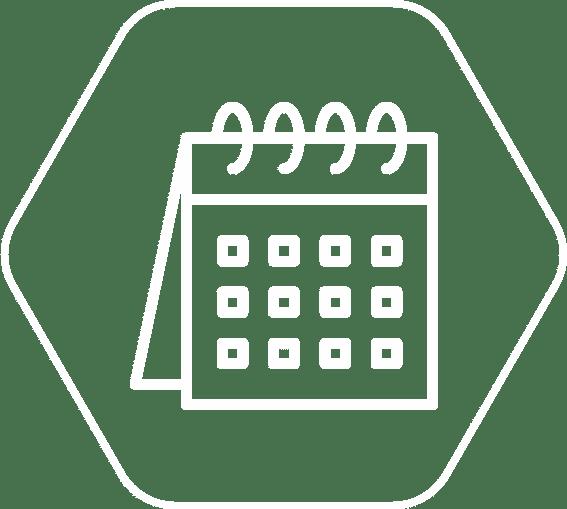 Kalendar koji označava da su rezultati prenatalnog testa dostupni za 7-10 radnih dana od dana uzorkovanja.